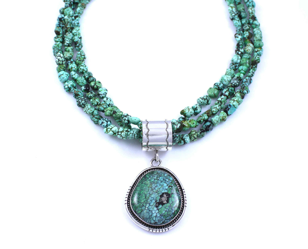 Victor Gabriel-Sorrel Sky Gallery-Jewelry-Green Spider Web Turquoise Pendant