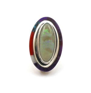 Sterling silver ring with opal and edge inlay by Victor Gabriel