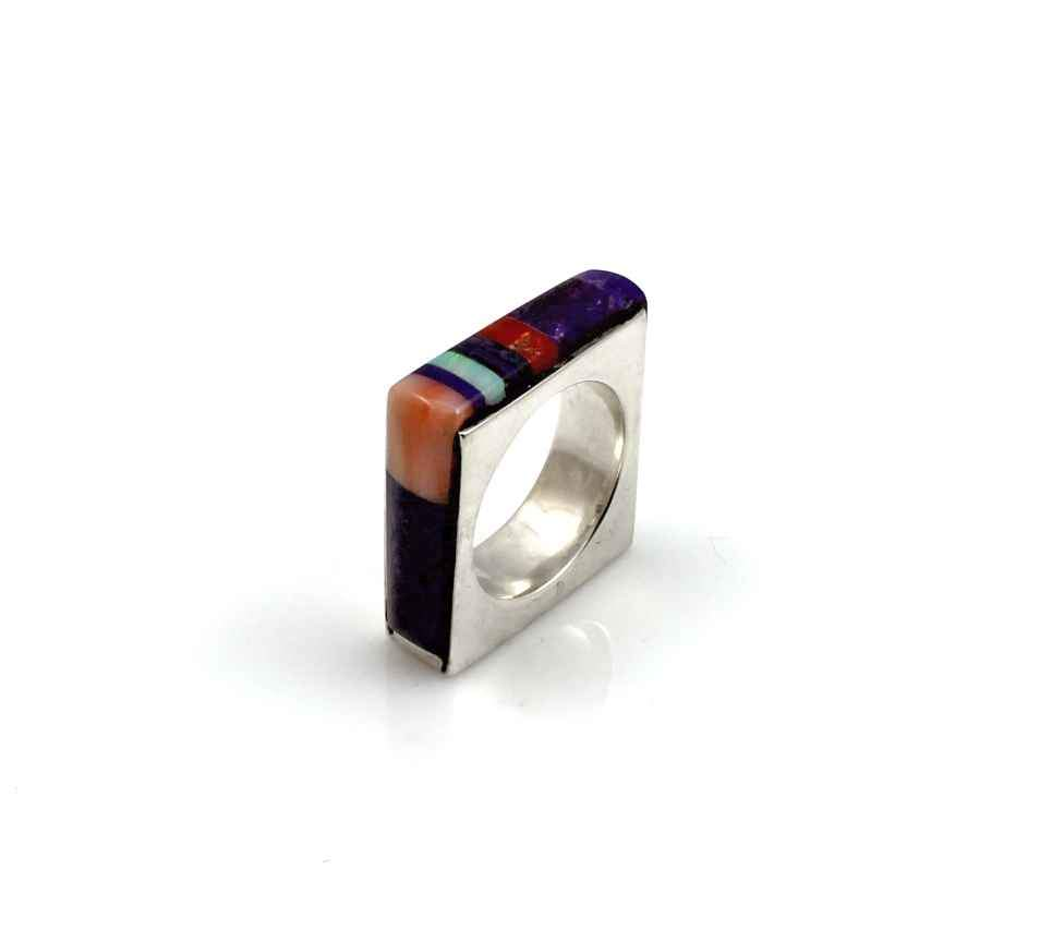 Square sterling silver ring inlaid with sugilite, coral and opal by Victor Gabriel