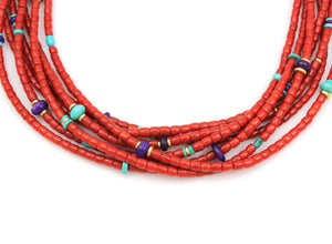 Seven Strand High Grade Coral Necklace-Jewelry-Victoria Adams-Sorrel Sky Gallery