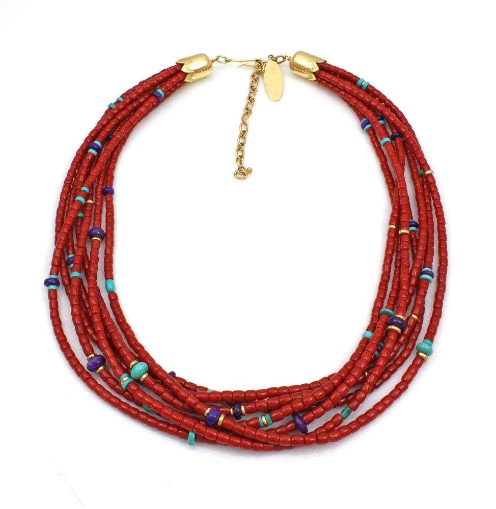 Seven Strand High Grade Coral Necklace