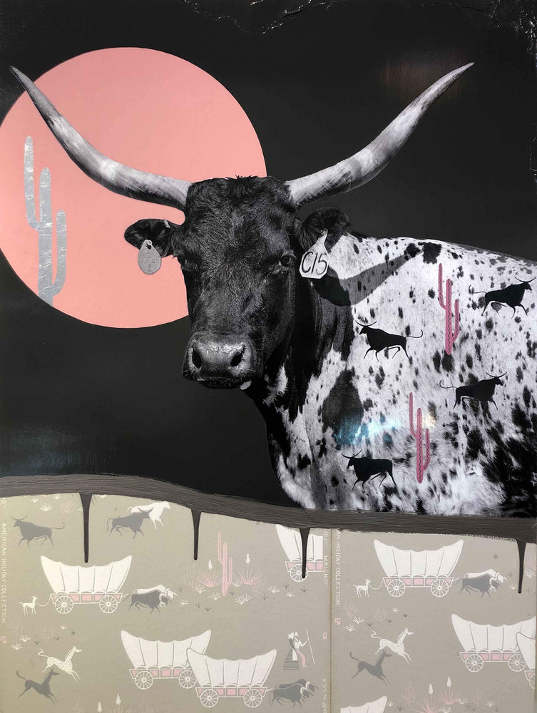Longhorn steer in front of a full moon. Modern painting. Miles glynn. Sorrel Sky Gallery