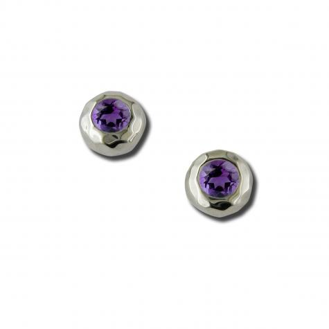 Amethyst Ripple Stud Earrings
