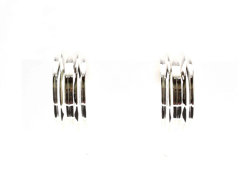 Crimped Silver Hoop Earrings