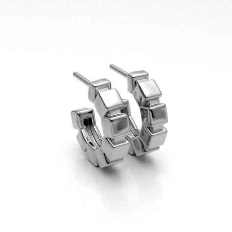 Small Cubes Snap Hoop Earrings