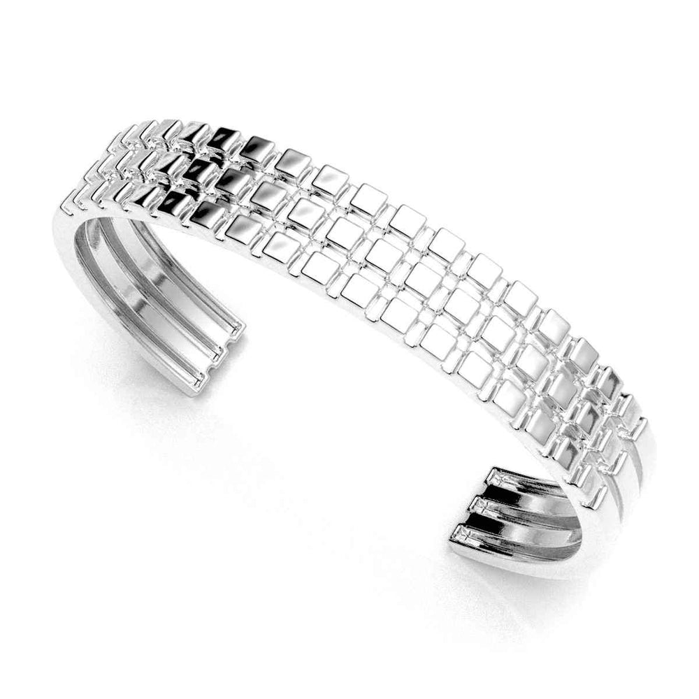 Three Row Cube Cuff Bracelet