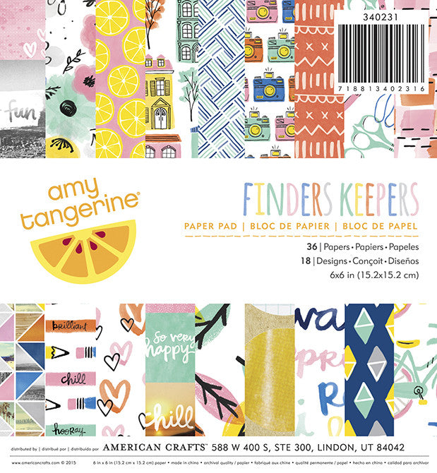 American Crafts: Amy Tangerine Finders Keepers 6x6 Paper Pad