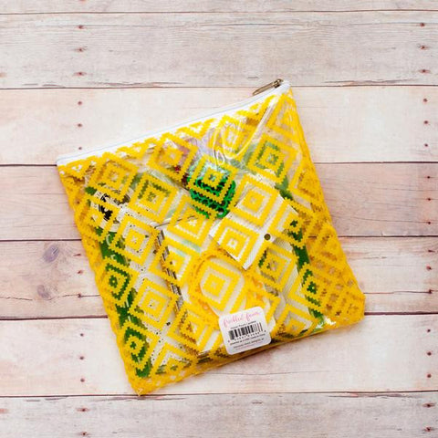 Freckled Fawn: Yellow Geometric Zipper Pouch
