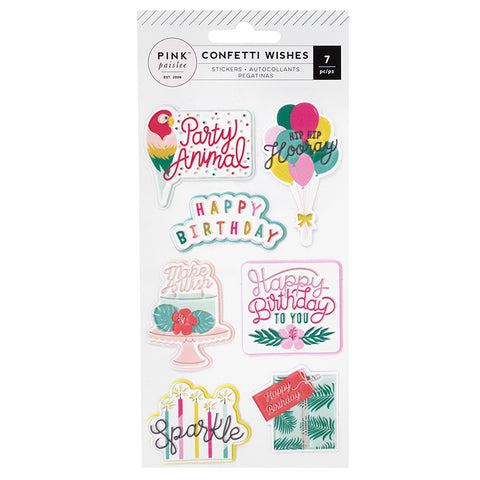 Pink Paislee: Confetti Wishes Embossed Puffy Stickers