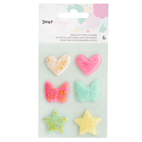 Dear Lizzy: Stay Colorful Glitter Resin Embellishments