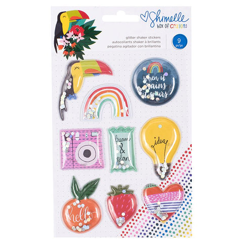Shimelle: Box of Crayons Glitter Shaker Stickers