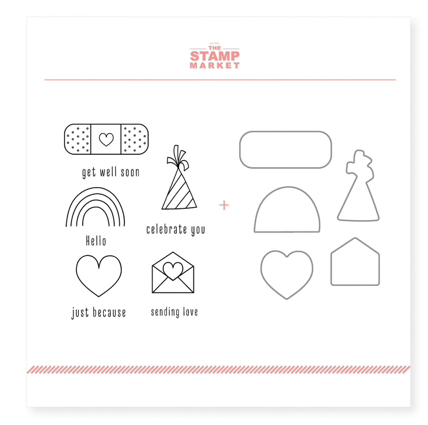 The Stamp Market: Mini Hellos Stamp & Cut Bundle