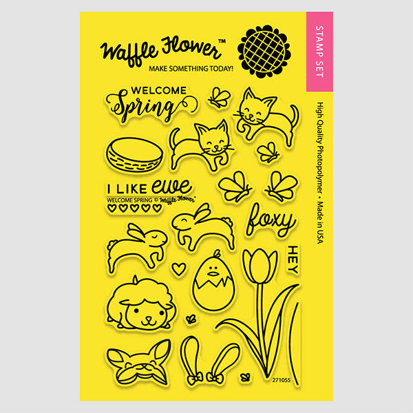 Waffle Flower Crafts:  Welcome Spring Stamp Set