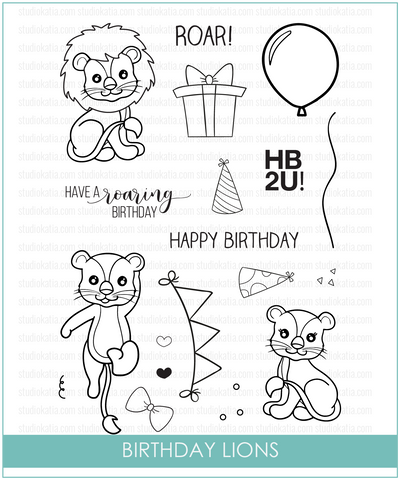 Studio Katia: Birthday Lions Stamp Set