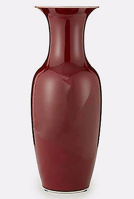 Huge Oxblood Porcelain Vase 22 inches Tall X 8 inches Diameter - FineHomeDecor101