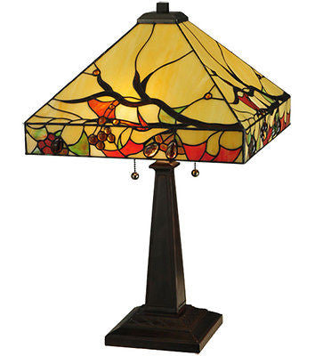 "Woodland Berries Arts and Crafts Period Stained Glass Lamp 25"" - Price Reduction - FineHomeDecor101"