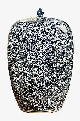 Blue and White Chinese Porcelain Tea Jar 21 inches Tall - FineHomeDecor101