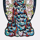 Peacock Profile Stained Glass Window 20 inches Wide X 36 inches Tall - FineHomeDecor101