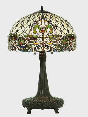 Rococo Stained Glass Table Lamp 31 inches Tall - Price Reduction! - FineHomeDecor101