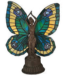 Butterfly Lady Stained Glass Accent Lamp 16.5 inches Tall - FineHomeDecor101