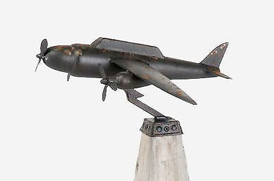 Huge Vintage Metal and Wood Airplane Tabletop Sculpture 23 inches x 19 X 14 - FineHomeDecor101
