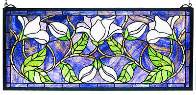 Magnolia Purple Stained Glass Panel Post-1940 - FineHomeDecor101