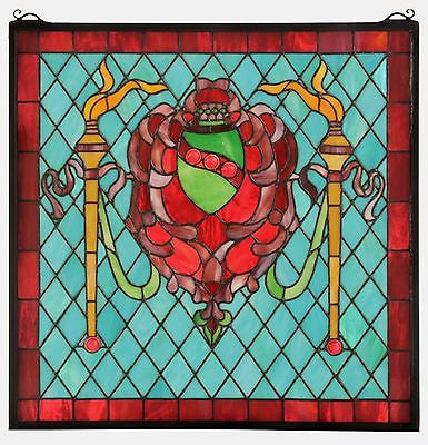 Victorian Shield Twin Torch Stained Glass Window 20 inches X 20 inches - FineHomeDecor101