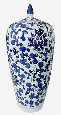 Chinoiserie Tall Blue and White Asian Jar with Lid 19.5 inches Tall - FineHomeDecor101
