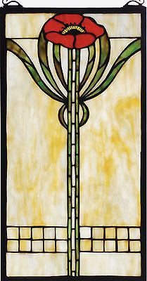 Parker Poppy Stained Glass Arts and Crafts Movement Window 20 inches Tall - FineHomeDecor101