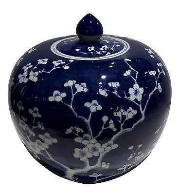 Blue and White Covered Porcelain Blossom Jar 11 ' X 12 ' - FineHomeDecor101