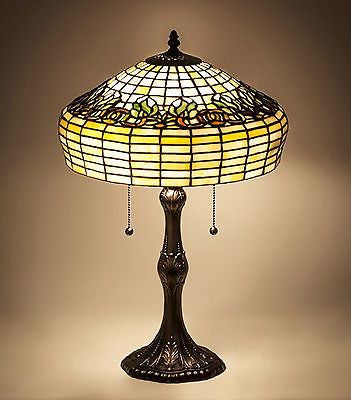 22 inch With Raised Tulip Stained Glass Table Lamp - FineHomeDecor101