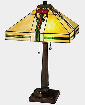 Parker Poppy Stained Glass Table Lamp 23 inches tall - FineHomeDecor101