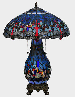 "Art Nouveau Tiffany Hanging-head Dragonfly Lighted Base Table Lamp 25.5"" - FineHomeDecor101"