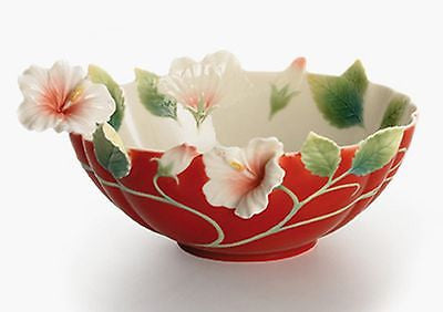 Franz Porcelain Island Beauty Hibiscus Flower Bowl - Red - FineHomeDecor101