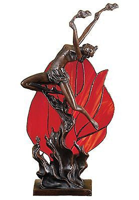 Art Nouveau Sculptural Red Flame Dancer Stained Glass Accent Lamp - FineHomeDecor101