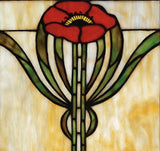 Parker Poppy Stained Glass Window 20 inches Tall - FineHomeDecor101
