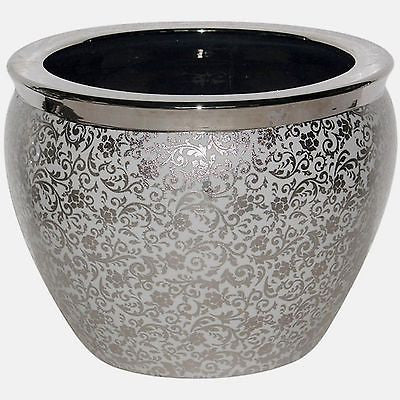Silvered and Black Chinese Porcelain Fish Bowl - FineHomeDecor101