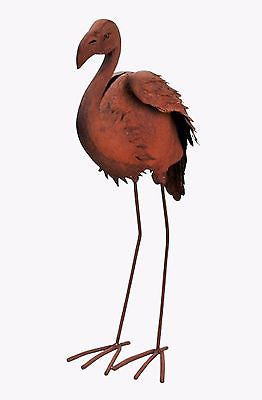 RUSTY METAL FLAMINGO Garden or Home Sculpture 27.17 inches Tall - FineHomeDecor101