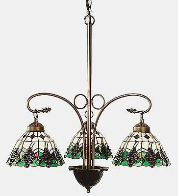 Grape 3 Light Stained Glass Chandelier - 24 inches Diameter - FineHomeDecor101