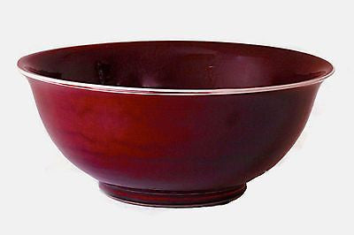 Large Chinese Porcelain Oxblood Centerpiece Bowl 15.5 inches Diameter - FineHomeDecor101