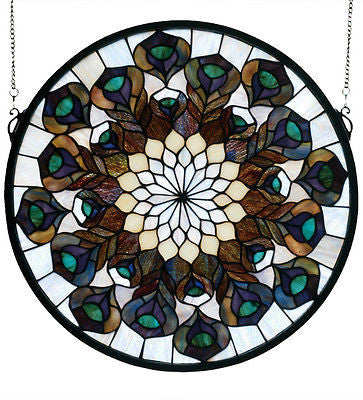 Tiffany Peacock Feather Medallion Stained Glass Window Arts and Crafts Movement