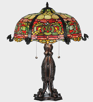 Art Nouveau Multi-Color Kimberly Viking Stained Glass Lamp 25 inches - FineHomeDecor101