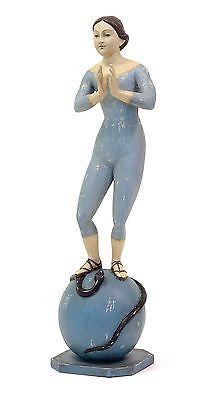 Vintage Praying Figure Display Form on Globe with Snake 19.75 inches Tall - FineHomeDecor101