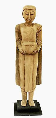 Huge Handcarved Wood Thai Monk 26 inches Tall - FineHomeDecor101
