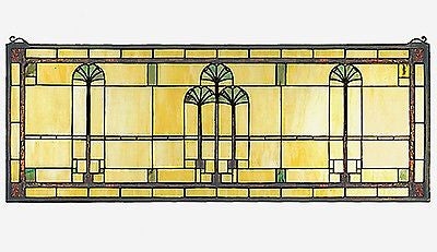 Ginkgo Stained Glass Window Arts and Crafts Movement - 35 X 13 inches - FineHomeDecor101