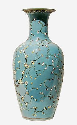 Teal Blue Blossom Porcelain Vase Hand Painted  in China 17 inches Tall - FineHomeDecor101