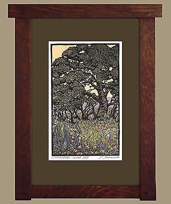 "Framed Arts & Crafts BlockPrint Signed Limited by Yoshiko Yamamoto ""Summer Oaks"" - FineHomeDecor101"