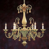 Handcrafted in Italy - Painted Wood Chandelier Pale Green and Goldleaf Finish - FineHomeDecor101