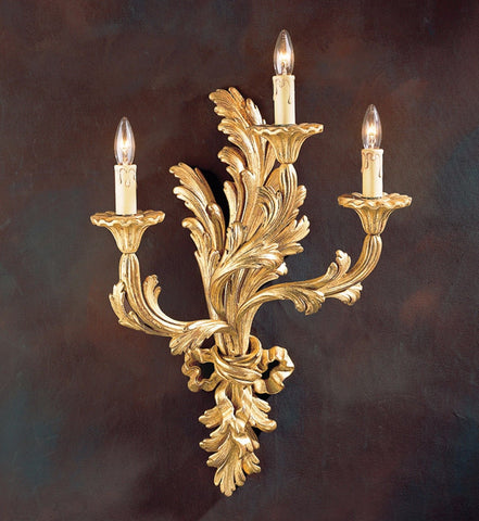 Louis XV Style Carved Wood Electrified Sconce With 3 Lights Antiqued Goldleafed - FineHomeDecor101