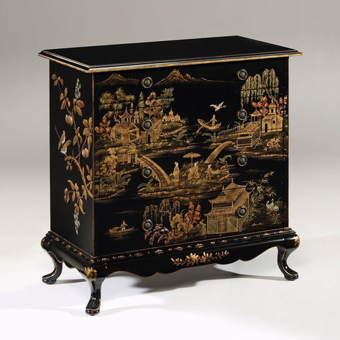 Hand-painted Rectangular Chest w Chinoiserie Design on Antiqued Crackled Black - FineHomeDecor101